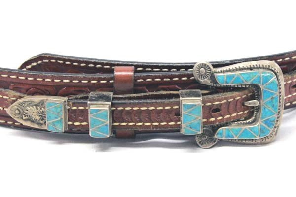 Zuni Sterling Turquoise Ranger Buckle With Belt