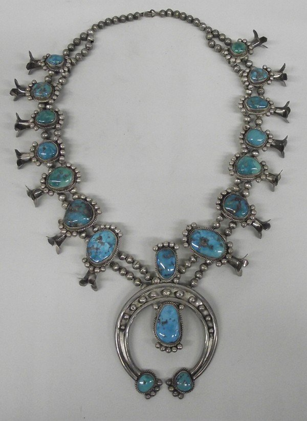1940 Navajo Turquoise Squash Blossom Necklace
