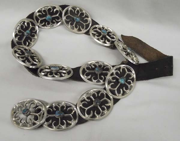 Navajo Sandcast Sterling Turquoise Concho Belt