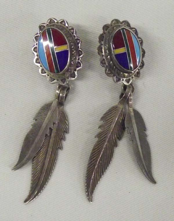 Southwest Style Sterling Channel Inlay Earrings