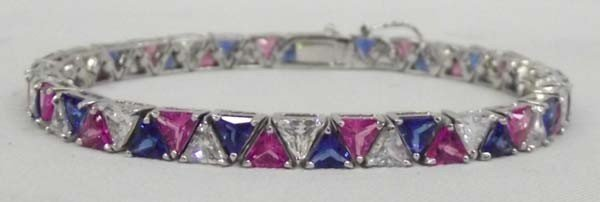 Sterling Silver Tennis Bracelet-Red White Blue CZ