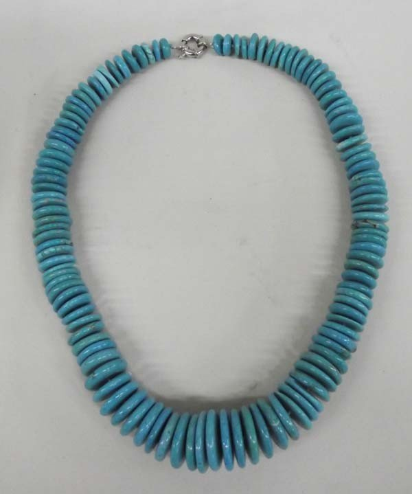 Turquoise Graduated Rondell Bead Necklace