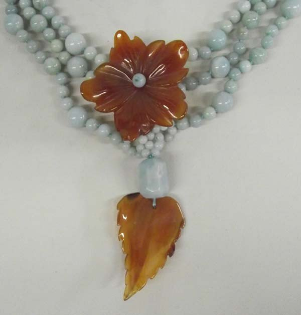 Natural Amazonite  Carnelian Necklace