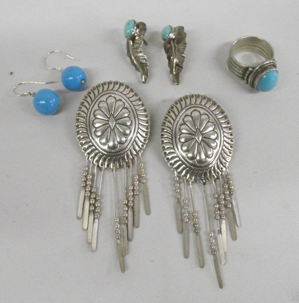 Southwestern Sterling Silver Turquoise Earrings & Ring