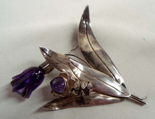 Vintage Taxco Mexico Sterling Amethyst Iris Pin