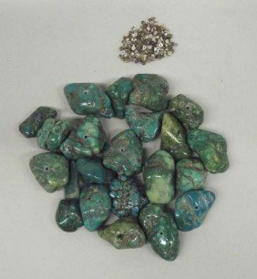 Nevada Green Turquoise Nuggets And Shell Heishi