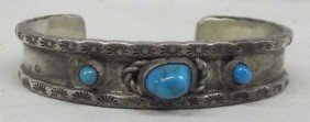 1950 Navajo Sterling Turquoise  Bracelet -  Viliborghi