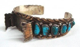 10Kt Gold Navajo Sterling Watch Bracelet - Yazzie