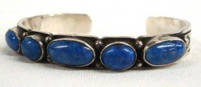 Navajo Sterling Denim Turquoise Cuff Bracelet