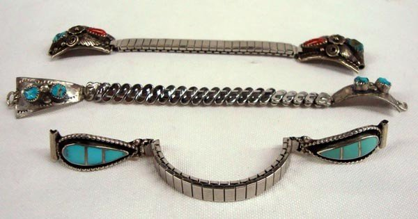 1960s Navajo Sterling Turquoise Watch Bands