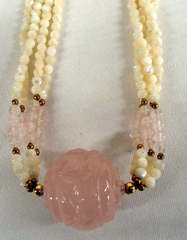 Mother of Peal Bead Necklace with Pink Quartz