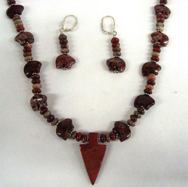 Jasper Bear Fetish Necklace and Earrings
