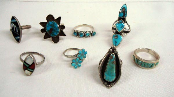 Zuni and Navajo Sterling Turquoise Ring Collection