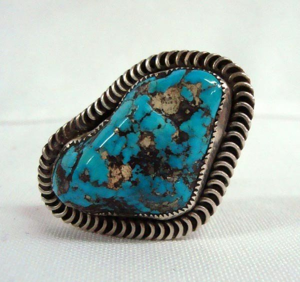 Vintage Navajo Silver Turquoise Ring - Helen Chee