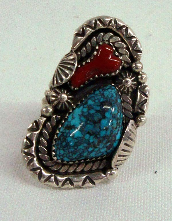 1970s Navajo Sterling Turquoise Coral Ring - Smith