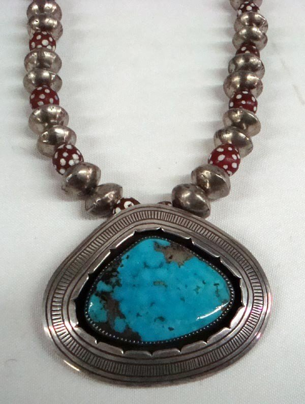 Navajo Sterling Turquoise Trade Bead Necklace