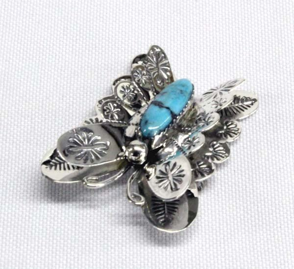 Navajo Sterling Turquoise Butterfly Pin - T Yazzie