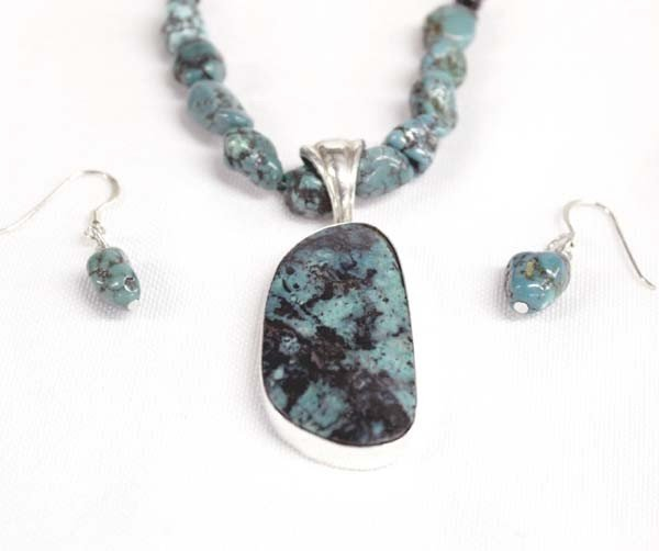 Silver Turquoise Chrysocolla Necklace Earrings