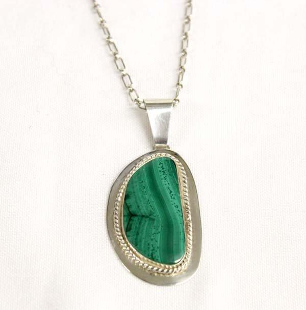 Sally Rocks Sterling  Malachite Pendant Necklace