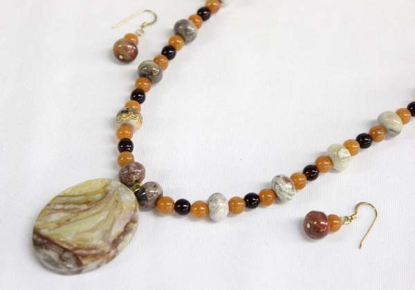 Sally Rocks Multi Stone Necklace & Earrings