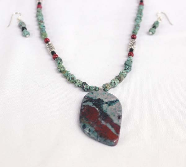 Sally Rocks Silver Turquoise Necklace &  Earrings