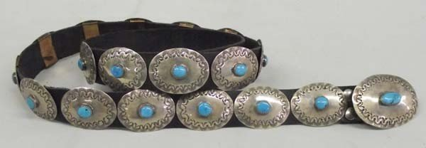 Navajo Sterling Turquoise Concho Belt