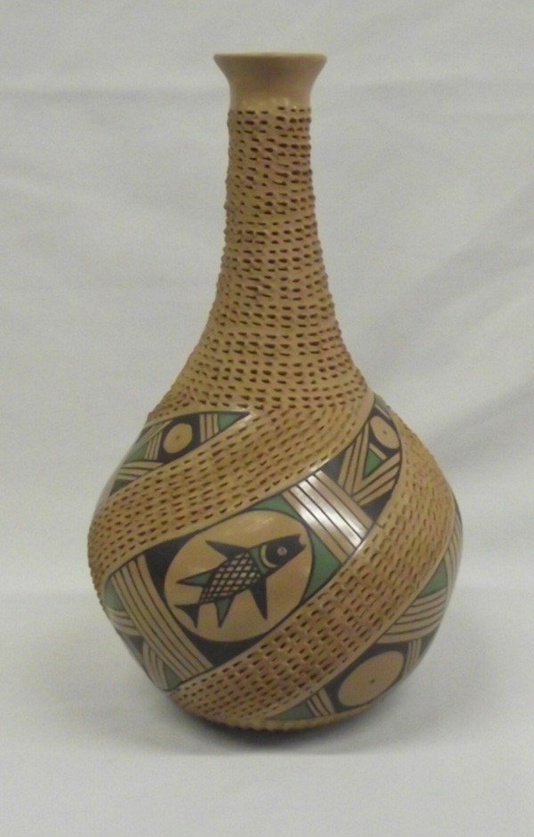Mata Ortiz Pulled Spout Textured Pottery Jar