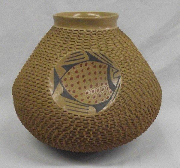 Mata Ortiz Textured Fish Pottery - Jose Gonzalez