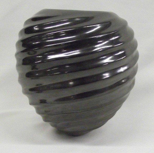 Mata Ortiz Black Swirl Design Jar-Alonso Sandoval