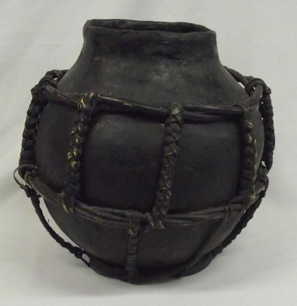 Large Philippine Clay Water Jug W/Bamboo