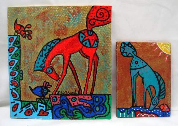 Two Original Painted Glass Tiles by Kills Thunder