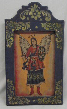 Vintage Mexican Hand Painted Wood Retablo