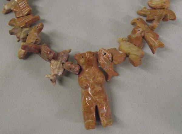 Zuni Stacked Animal Fetish Necklace & Cross