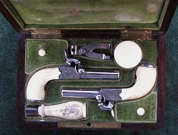 1830s Rare Set Belgium Engraved Muff Pistols