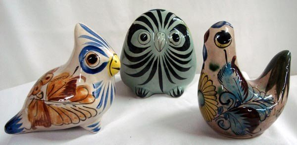 Mexican Tonala Burnished Ceramic Birds