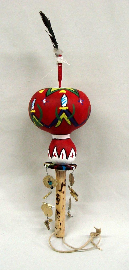 Yaqui Ceremonial Painted Gourd Rattle