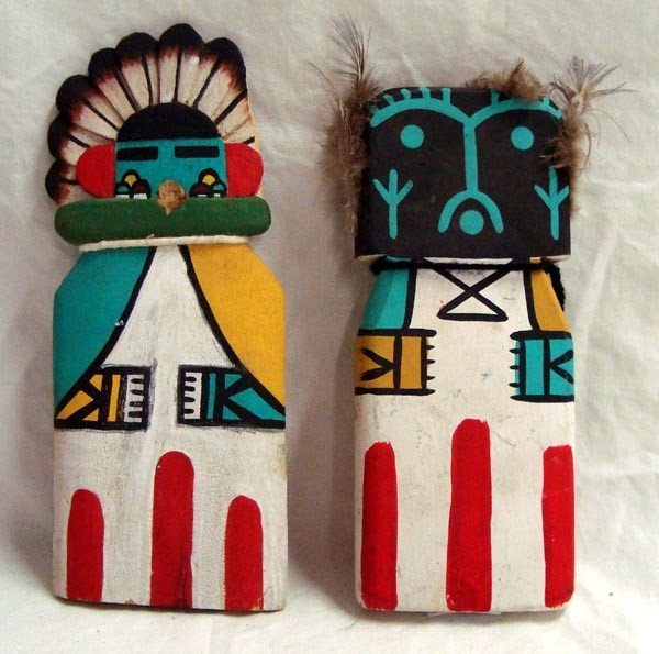 Hopi Child's Cradle Wooden Kachinas