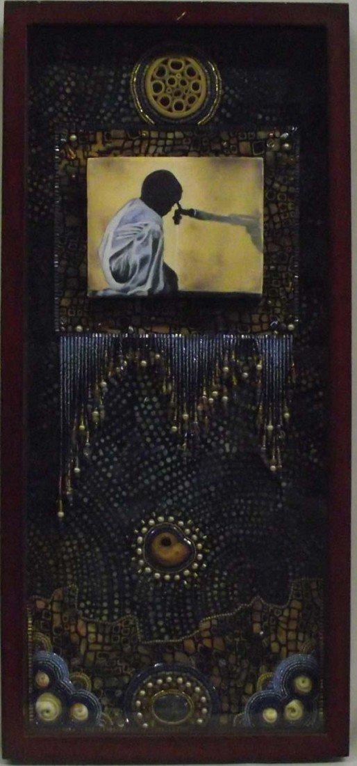 Framed Beadwork Assemblage -  Water Theme Art