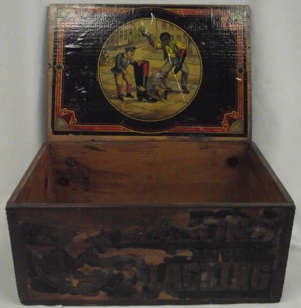 1800's Mason's Blacking Shoe Polish Box Americana