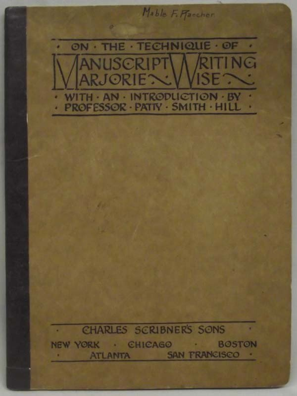 1920 Manuscript Writing Softback Book by Marjorie Wise