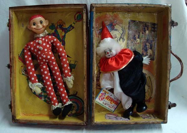 Whimsical Decoupaged Clown Suitcase - by Benton