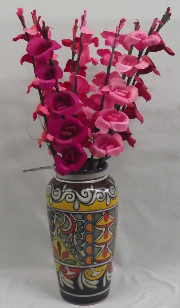 Mexican Talavera Vase and Corn Husk Hollyhocks