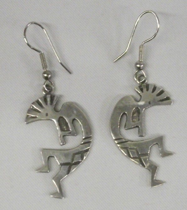 Zuni Sterling Silver Kokopelli Pierced Earrings