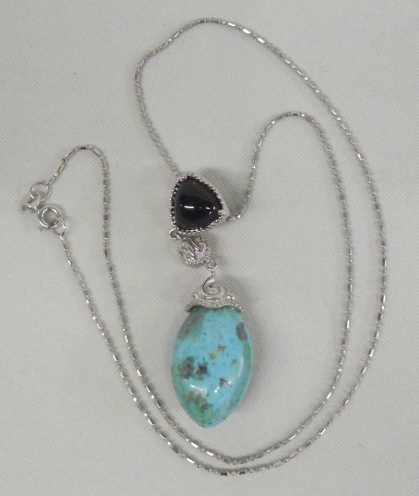 Sterling Onyx & Turquoise Necklace