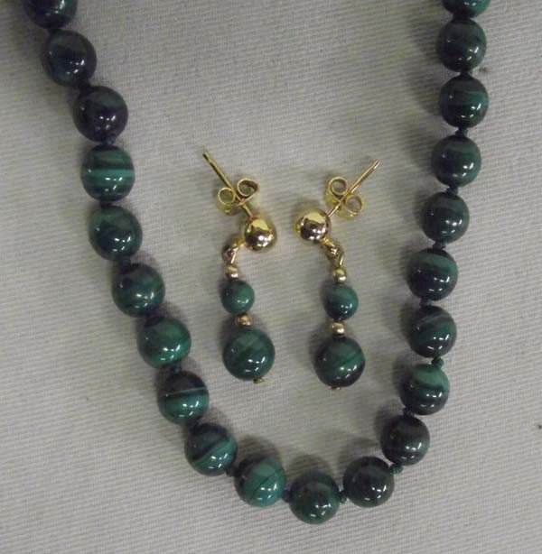 Green Jade Bead Necklace and Earrings