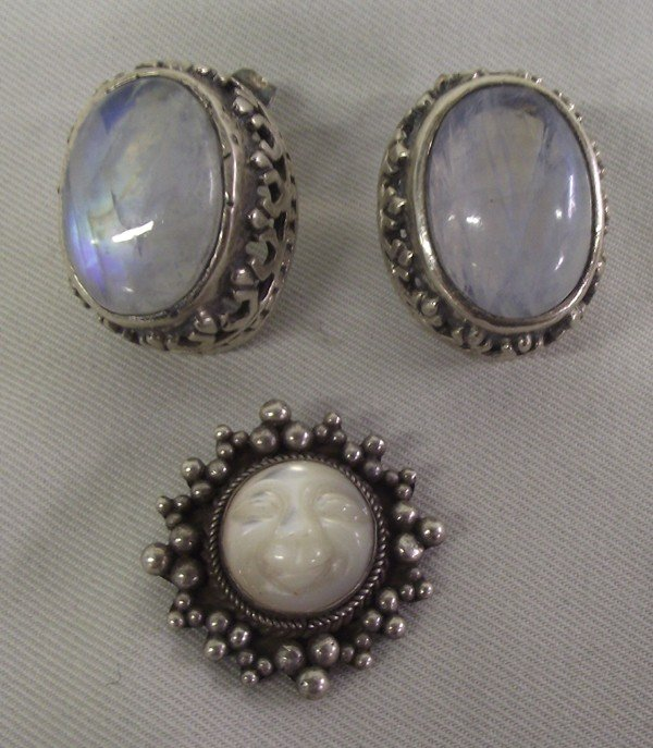Moonstone Sterling Silver Earrings and Pendant