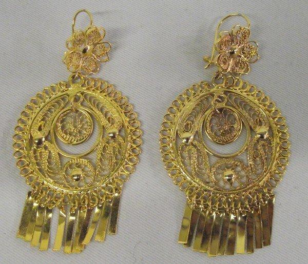 Mexican Gold Tone Filigree Earrings