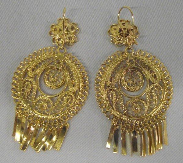 Mexican Gold Tone Filigree Earrings - 2