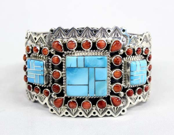 Navajo Sterling Turquoise Coral Bracelet by James