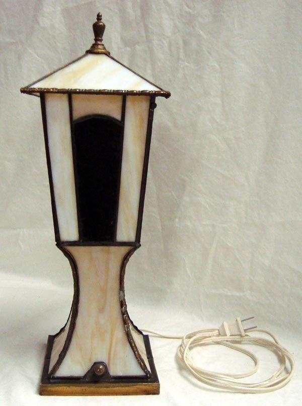 Leaded Glass Stairway Post Lamp